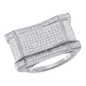 10kt White Gold Mens Round Pave-set Diamond Concave Rectangle Cluster Ring 1/2 Cttw