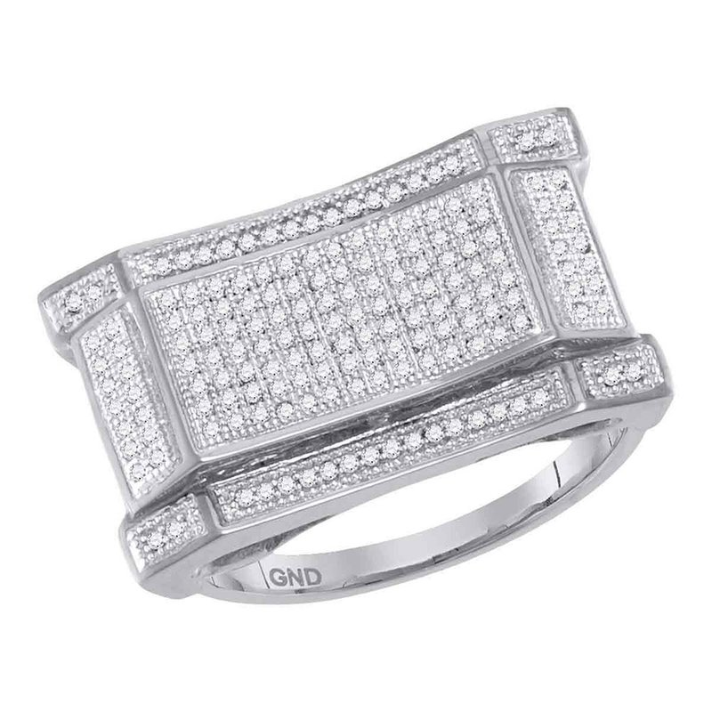 Gold-N-Diamonds 10kt White Gold Mens Round Pave-set Diamond Concave Rectangle Cluster Ring 1/2 Cttw
