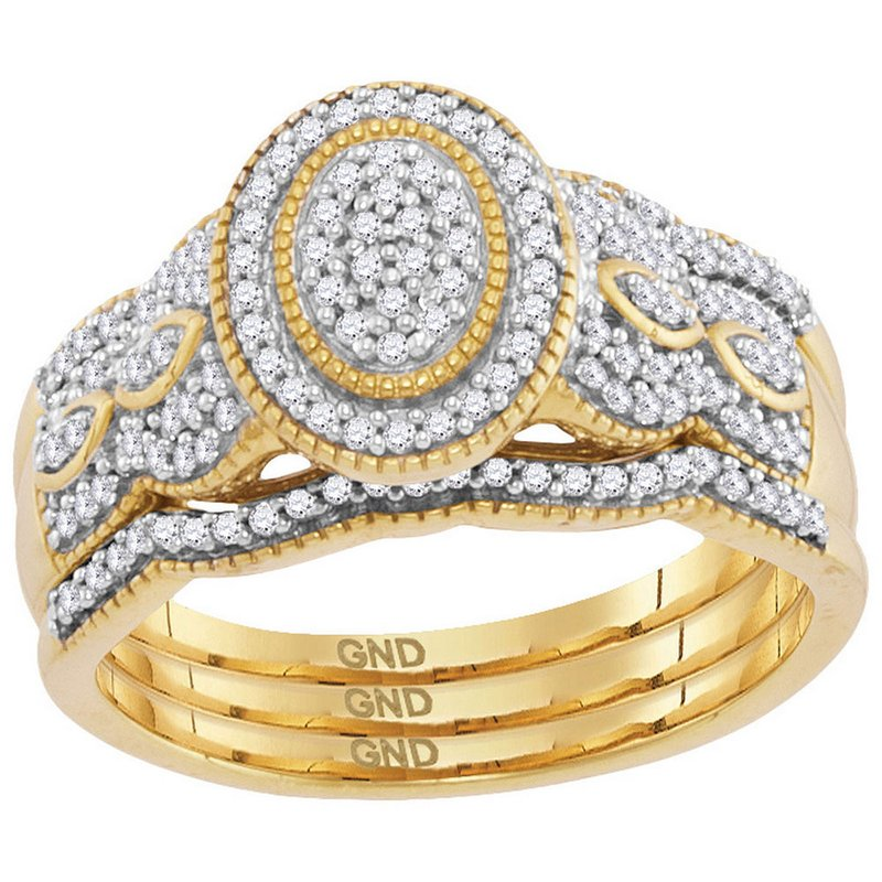 Gold-N-Diamonds, Inc. (Atlanta) 10kt Yellow Gold Womens Diamond Oval Cluster Milgrain 3-Piece Bridal Wedding Engagement Ring Band Set 3/8 Cttw