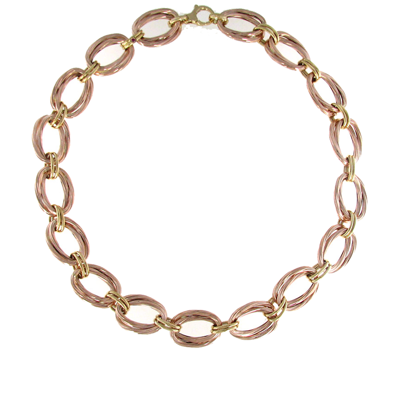 Roberto Coin 18Kt Rose And Yellow Gold Oval Link Necklace