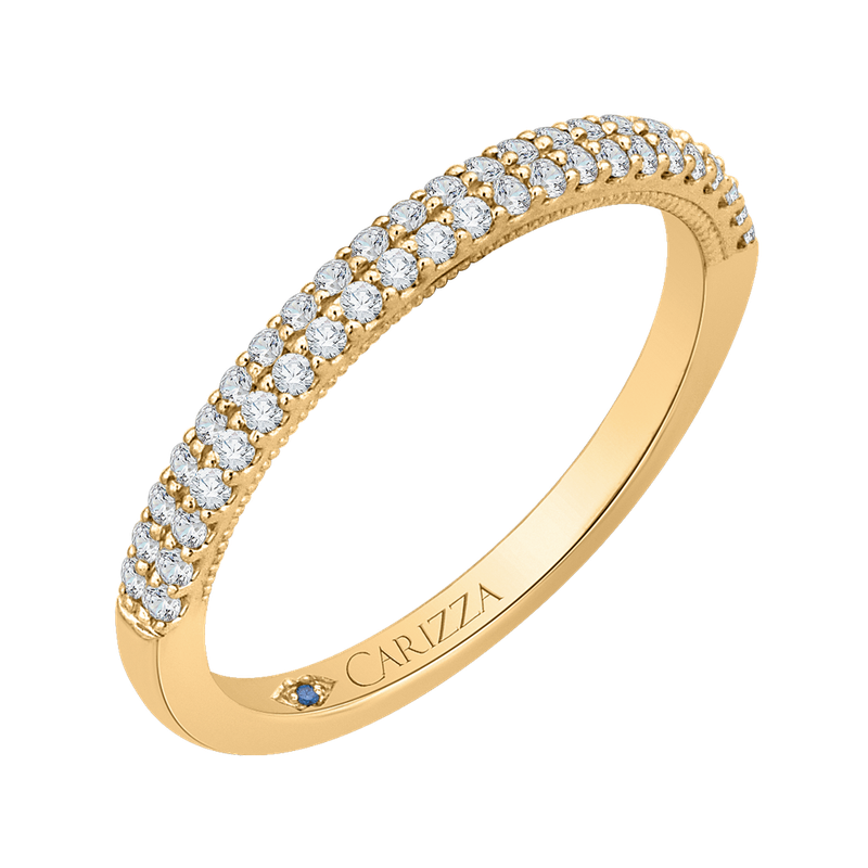 14K Yellow Gold Round Diamond Half-Eternity Wedding Band