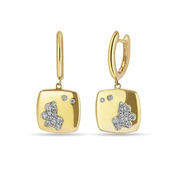 14K YG and diamond Dangling square shape earring in prong setting