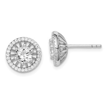 Sterling Silver Rhodium-plated 5mm Center CZ Circle Post Earrings