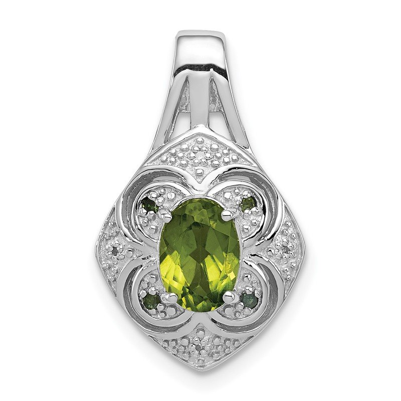 Quality Gold Sterling Silver Rhodium White/Green Diamond & Peridot Oval Pendant