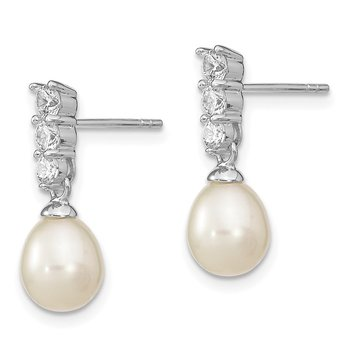 Sterling Silver RH 7-8mm White FWC Pearl CZ Post Earrings