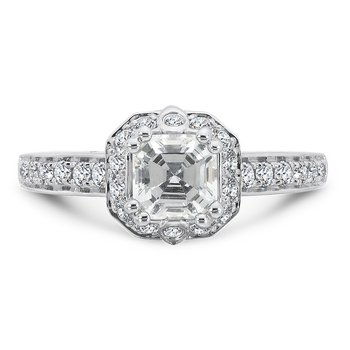 Asscher-Cut Halo Engagement Ring in 14K White Gold with Platinum Head (1ct. tw.)