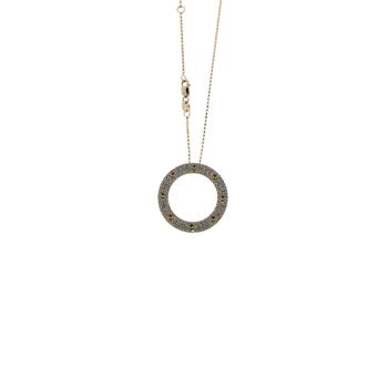 18KT GOLD LARGE PAVE DIAMOND CIRCLE PENDANT