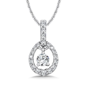 Diamond Oval Pendant with Diamond Bale in 14K White Gold (1/4ct. tw.)