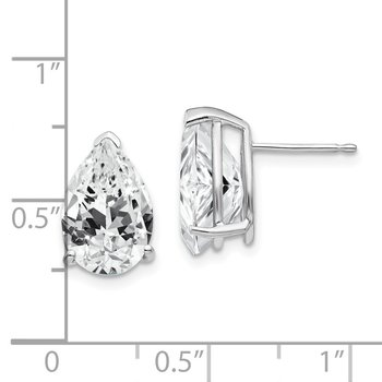 14k White Gold 12x8mm Pear Cubic Zirconia Earrings