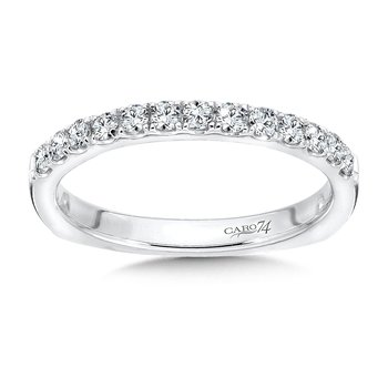Prong-Set Round Diamond Wedding Band in 14K White Gold