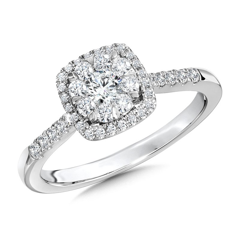 SDC Creations Cushion-Shaped Cluster Diamond Halo Engagement Ring