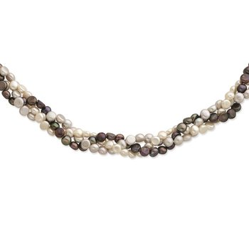 Sterling Silver RH 6-7mm White/Black/Silver FWC Pearl w/2in ext. Necklace