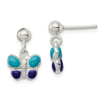 Sterling Silver Enamel Butterfly Post Dangle Earrings