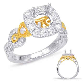 Yellow & White Gold Halo Engagement Ring