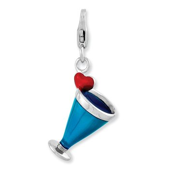 Sterling Silver RH Enameled 3-D Blue Hawaii w/Lobster Clasp Charm