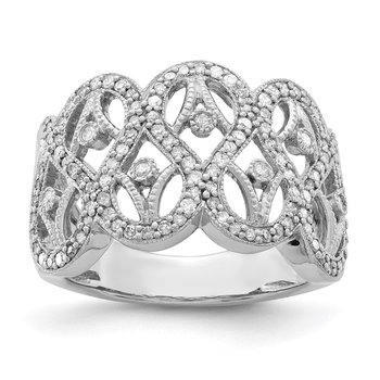 Sterling Silver Rhodium Diam. Ring