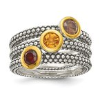 Shey Couture Sterling Silver w/ Flash GP Garnet/Citrine/Smoky Quartz 3 Stackable Rings