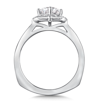 Halo Engagement Ring Mounting in 14K White Gold (.25 ct. tw.)