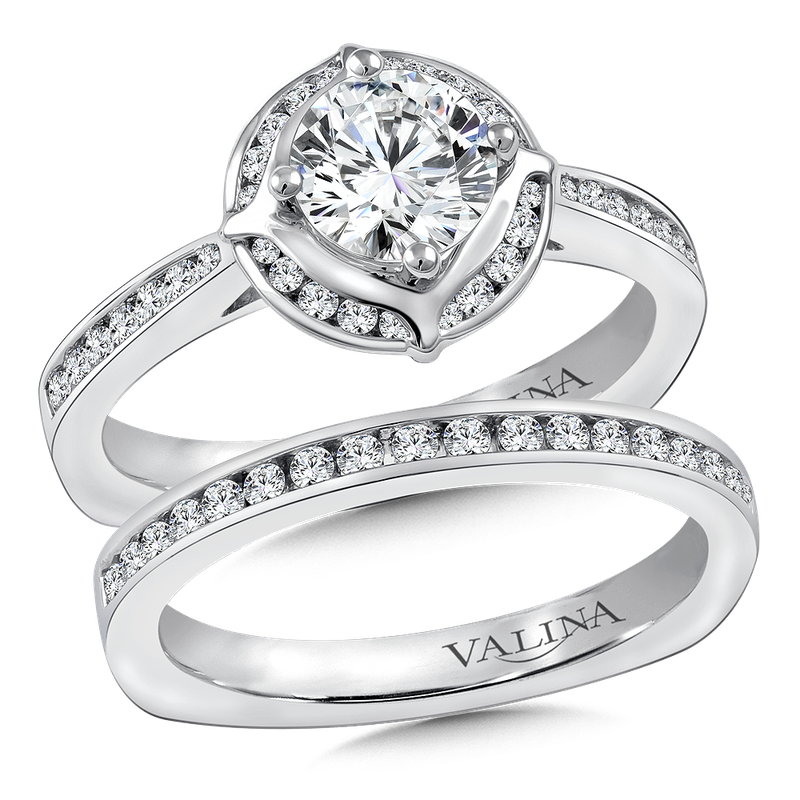 Valina Halo Engagement Ring Mounting in 14K White Gold (.25 ct. tw.)