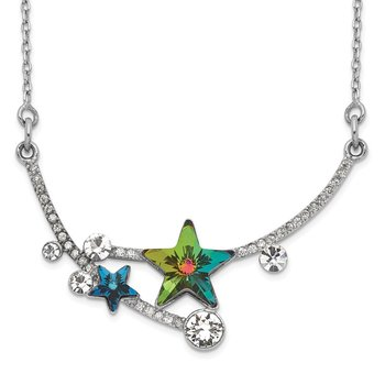Sterling Silver RH-plated Multi-color Crystal Star w/2in ext Necklace