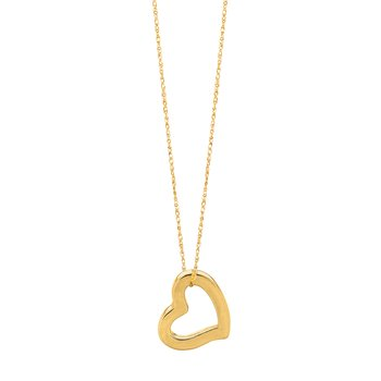 14K Gold Open Heart Necklace