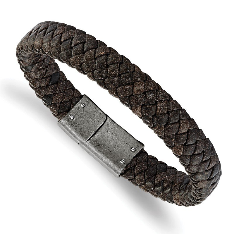 Chisel Stainless Steel Brushed Brown Braided Genuine Leather 8.25in Bracelet