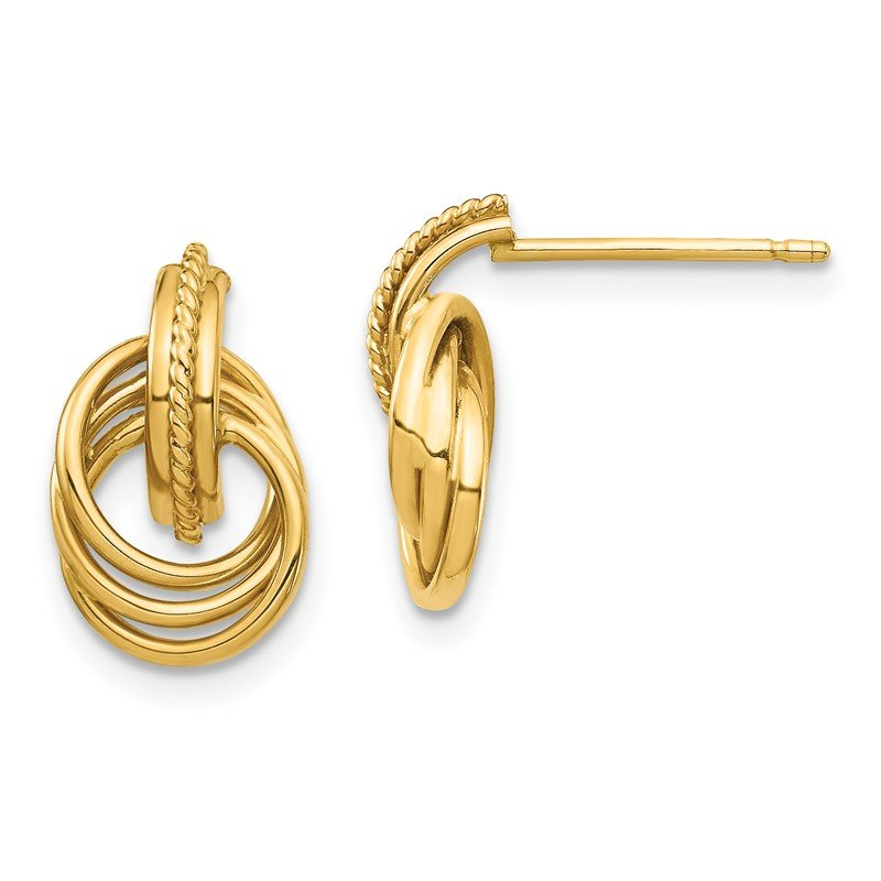 Quality Gold 14K Intertwined Circle Post Earrings