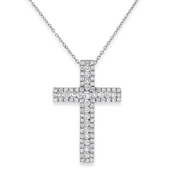 Diamond Cross Necklace in 14k White Gold with 84 Diamonds weighing .72ct tw.