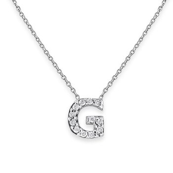 Diamond Bitty Block Initial G Necklace