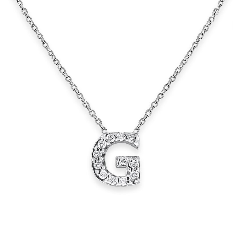 KC Designs Diamond Bitty Block Initial G Necklace
