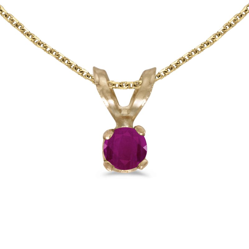 14k Yellow Gold Round Ruby Pendant
