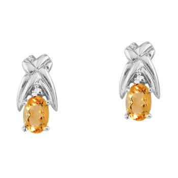 14k White Gold 6x4 mm Citrine and Diamond Oval Shaped Earrings