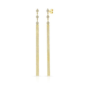 Yellow Gold Diamond Shaped Dangling Tassel Earrings