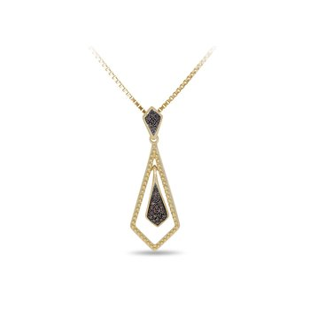 10K WG and Champagne Diamond Inner and outer Kite Shape Dangling Pendant in Prong Setting. The outer shape is beaded edge