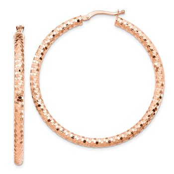 14k Rose Gold 3x35mm Diamond-cut Hoop Earrings