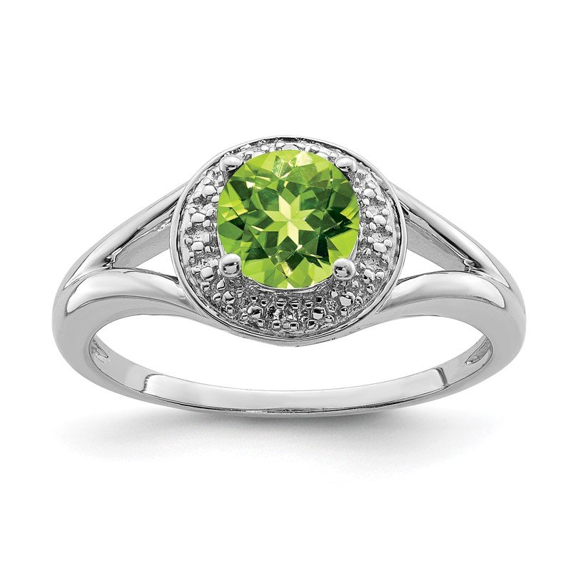 Quality Gold Sterling Silver Rhodium-plated Diam. & Peridot Ring