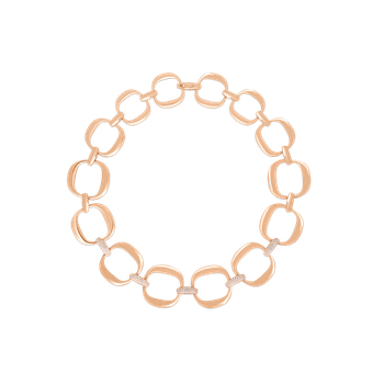 18Kt Gold Link Necklace With Diamonds