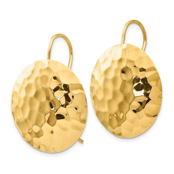 14k Hammered Circle Earrings