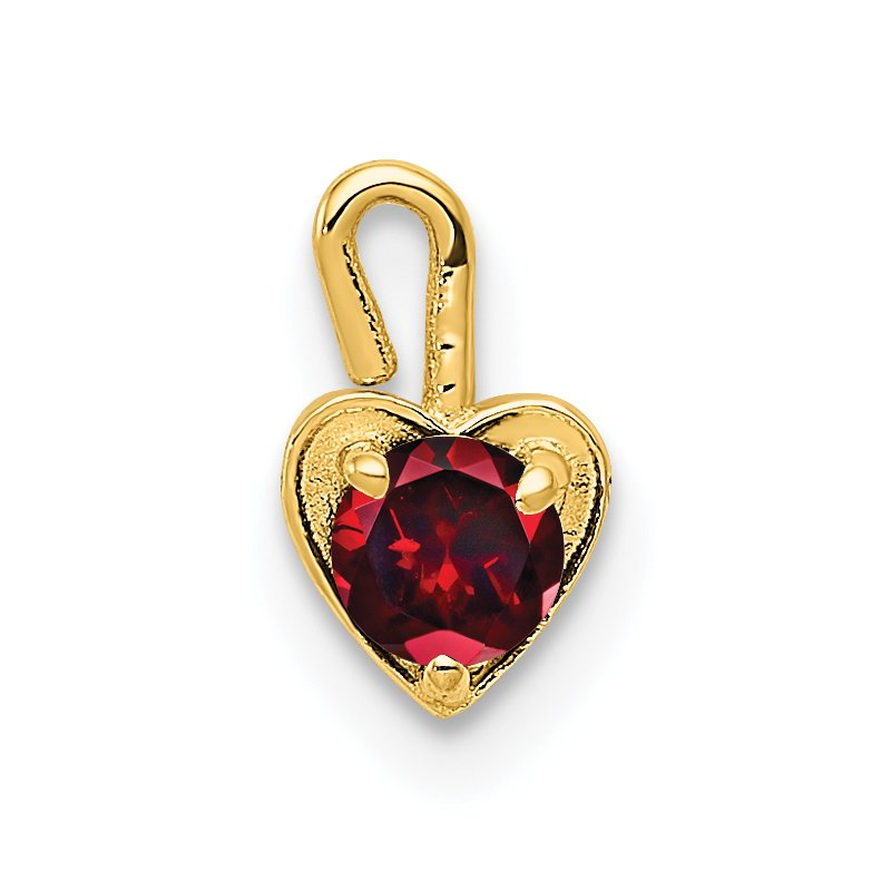 Quality Gold 14ky January Synthetic Birthstone Heart Charm