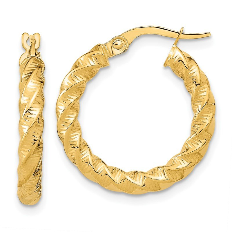 Quality Gold 14k Gold Polished 3mm Twisted Hoop Earrings