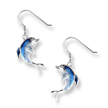 Sterling Silver Dolphin Wire Earrings -Blue. White Sapphires.