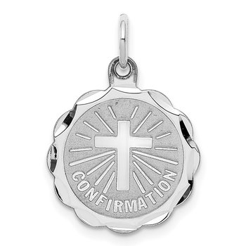 Sterling Silver Rhodium-plated Confirmation Disc Charm