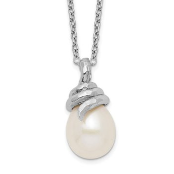 Sterling Silver Rhod Plat 8-9mm White Rice FWC Pearl Necklace