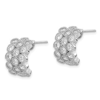 Sterling Silver Rhodium-plated CZ 3-row Half Hoop Post Earrings