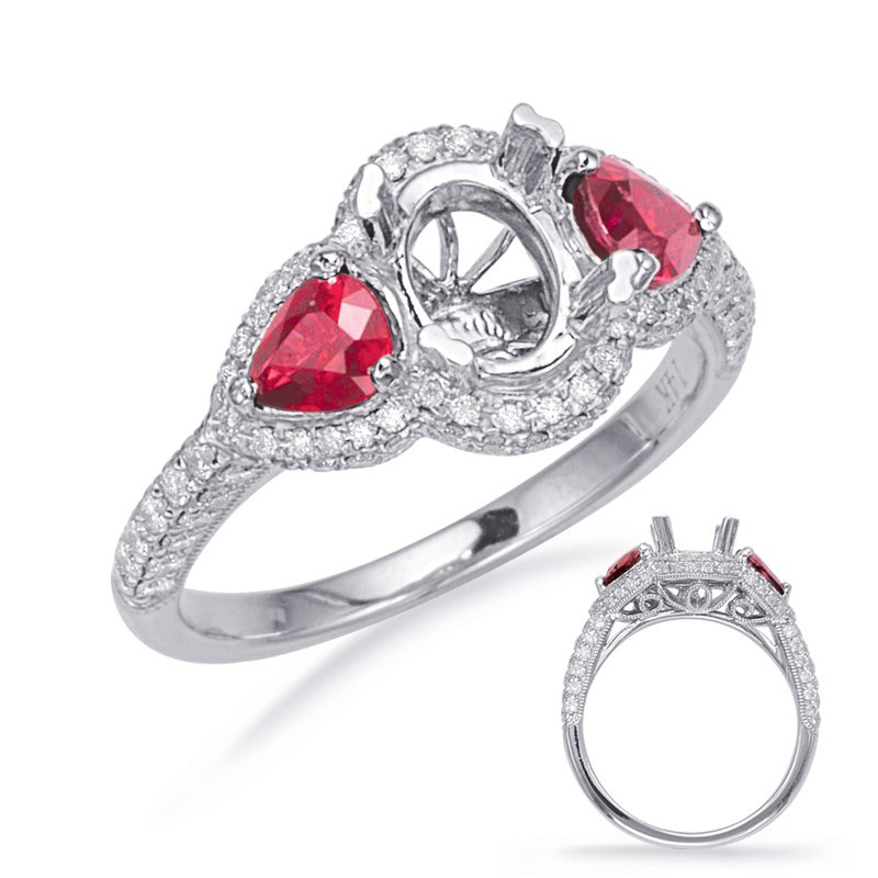 S. Kashi & Sons Bridal White Gold Ruby & Diamond Eng Ring