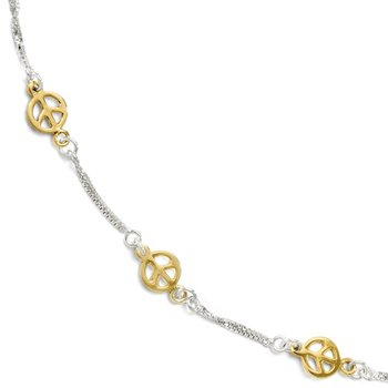 Leslie's Sterling Silver Gold-tone 18k Flash Plated Anklet Adj. (9-10)