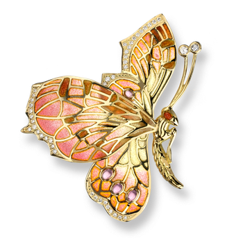 18 Karat Gold Butterfly Brooch-Pink.  Diamonds, Pink Tourmaline.