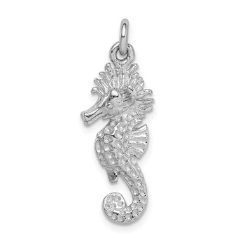 Sterling Silver Rhodium-plated Seahorse Charm