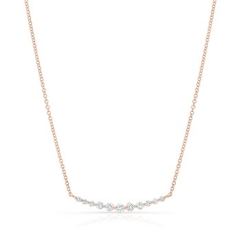 Rose Gold Graduating Shared Prong Necklace