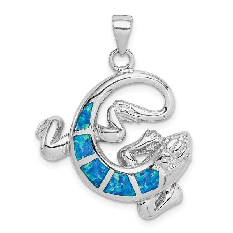 Quality Gold Sterling Silver Rhodium-plated Created Blue Opal Gecko Pendant